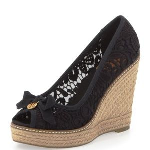 Tory Burch Jackie Espadrille Wedge in Lace
